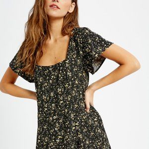 🆕Black Floral Square Neck Dress